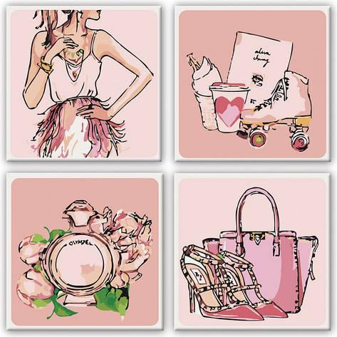Набор картин по номерам Полиптих Рожеві мрії 4шт. 18*18см. KNP015 Идейка, фото 2