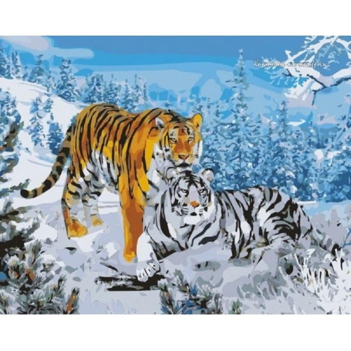 Картина по номерам Два тигра 40*50см. КНО194 Идейка