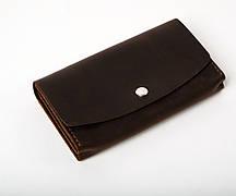 Кожаный клатч «Proza Brown» (2 card) женский Коричневый (17x10 см) ручной работы