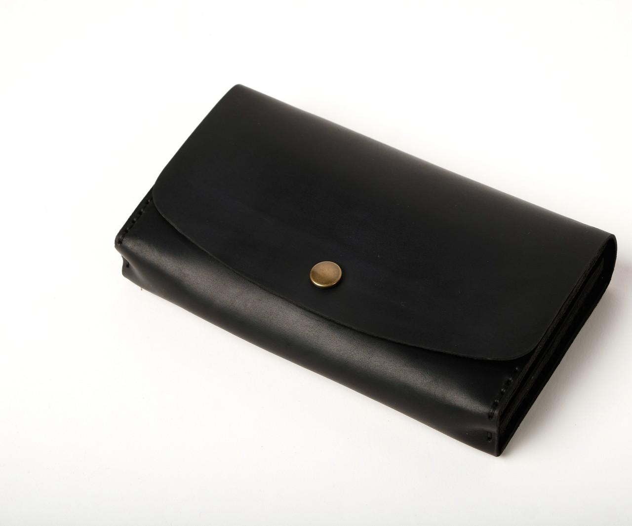 Кожаный клатч «Proza Black» (2 card) женский Черный (17x10 см) ручной работы
