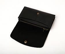 Кожаный клатч «Proza Black» (2 card) женский Черный (17x10 см) ручной работы, фото 2