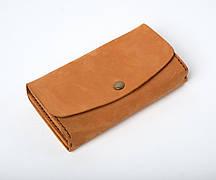 Кожаный клатч «Proza Foxy» (2 card) женский Песочный (17x10 см) ручной работы