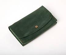 Шкіряний клатч «Proza Green» (2 card) жіночий Зелений (17x10 см) ручної роботи