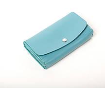 Шкіряний клатч «Proza Azure» (2 card) жіночий Блакитний (17x10 см) ручної роботи