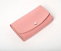 Шкіряний клатч «Proza Powder» (2 card) жіночий Рожевий (17x10 см) ручної роботи