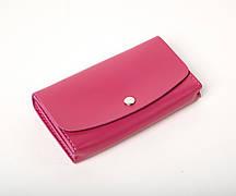 Кожаный клатч «Proza Fuchsia» (2 card) женский Малиновый (17x10 см) ручной работы