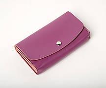 Шкіряний клатч «Proza Lilac» (2 card) жіночий Бузковий (17x10 см) ручної роботи