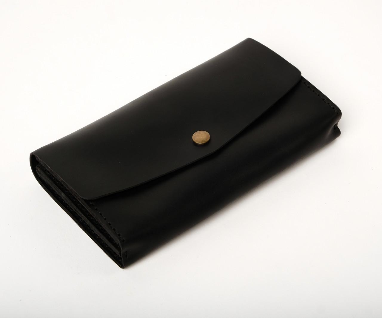 Кожаный клатч «Nice Black» (3 card) женский Черный (18,5x10,5 см) ручной работы