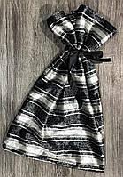 Велюровый мешочек полоска с лентой.
