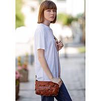 Кожаная плетеная женская сумка Пазл S светло-коричневая Krast, фото 1