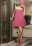 Женский банный комплект тапочки, полотенце с резинкой и липучкой, полотенце малинового цвета Philippus