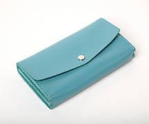 Шкіряний клатч «Nice Azure» (3 card) жіночий Блакитний (18,5x10,5 см) ручної роботи
