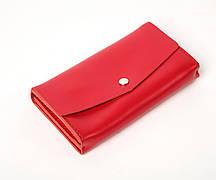 Кожаный клатч «Nice Red» (3 card) женский Красный (18,5x10,5 см) ручной работы
