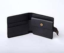 Шкіряний гаманець «Gazda Black» чоловічий Чорний (11x9,5 см) ручної роботи