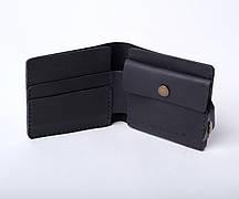 Шкіряний гаманець «Gazda Blue» чоловічий Синій (11x9,5 см) ручної роботи