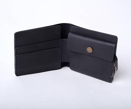 Шкіряний гаманець «Gazda Blue» чоловічий Синій (11x9,5 см) ручної роботи, фото 2