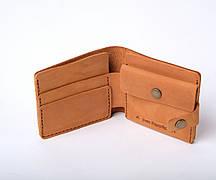 Шкіряний гаманець «Gazda Foxy» унісекс Пісочний (11x9,5 см) ручної роботи