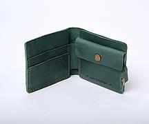 Шкіряний гаманець «Gazda Green» унісекс Зелений (11x9,5 см) ручної роботи