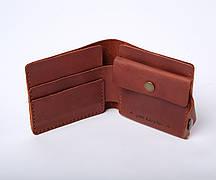 Шкіряний гаманець «Gazda Cognac» чоловічий Бурштиновий (11x9,5 см) ручної роботи