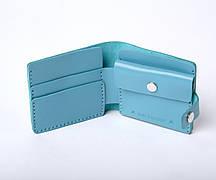Шкіряний гаманець «Gazda Azure» жіночий Блакитний (11x9,5 см) ручної роботи