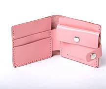 Шкіряний гаманець «Gazda Powder» жіночий Рожевий (11x9,5 см) ручної роботи