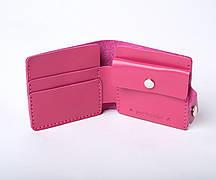 Шкіряний гаманець «Gazda Fuchsia» жіночий Малиновий (11x9,5 см) ручної роботи