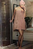 Женский банный комплект тапочки, полотенце с резинкой и липучкой, персикового цвета Philippus