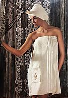 Женский банный комплект тапочки, полотенце с резинкой и липучкой,  белого цвета Philippus