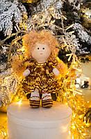 """Интерьерная кукла """"Кудряшка в ажурном коричневом платье"""""""