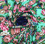 Южное солнце 1652-12, павлопосадский платок шерстяной (двуниточная шерсть) с шелковой бахромой, фото 6