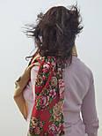 Южное солнце 1652-3, павлопосадский платок шерстяной (двуниточная шерсть) с шелковой бахромой, фото 3