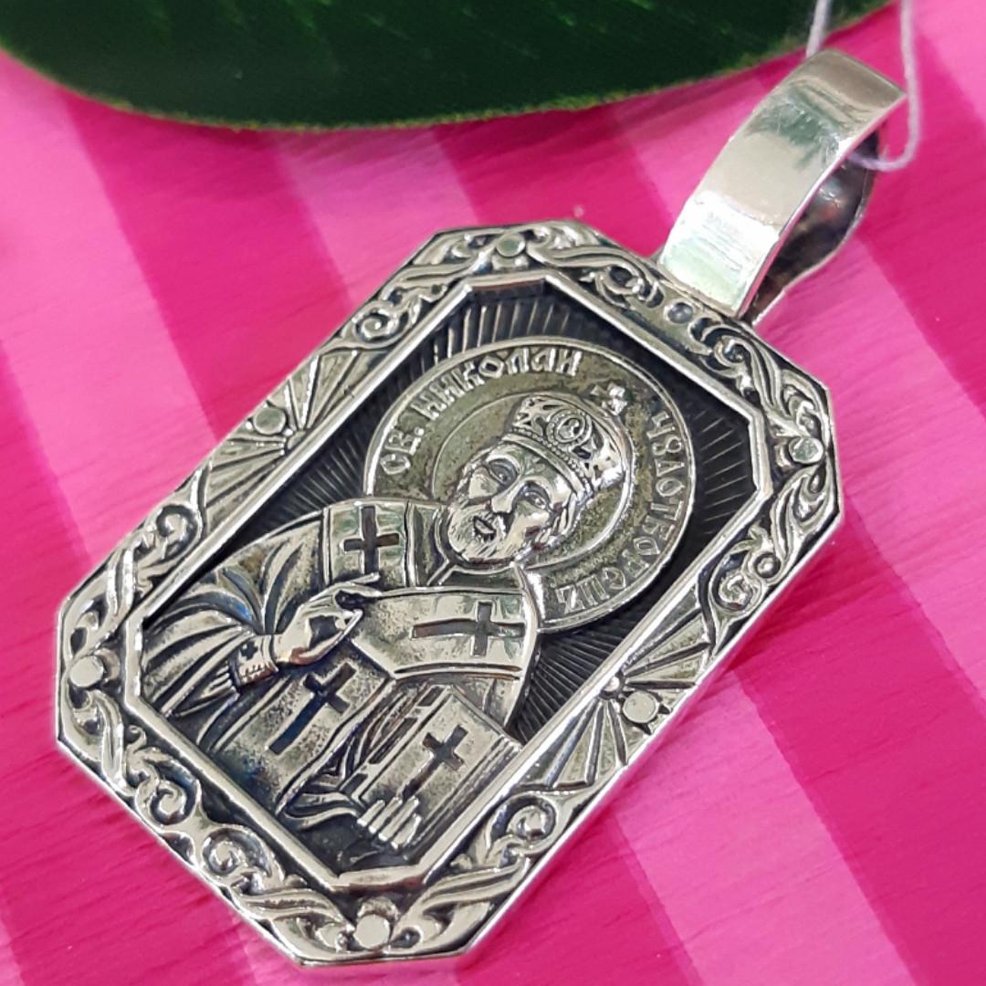 Серебряный кулон Святой Николай Чудотворец - Кулон-иконка Святой Николай серебро