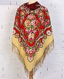 Южное солнце 1652-3, павлопосадский платок шерстяной (двуниточная шерсть) с шелковой бахромой, фото 5