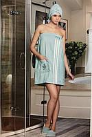 Женский банный комплект тапочки, полотенце с резинкой и липучкой,  мятного цвета Philippus
