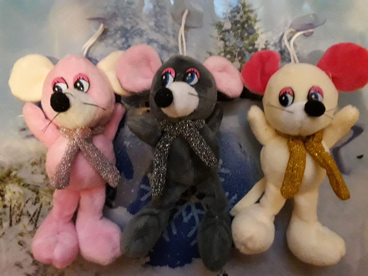 Мягкая игрушка мышка с шарфом символ года 2020 крыса брелок на присоске