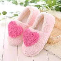 Тапочки комнатные с сердечком закрытые размер 36-37 розовые GS698-1