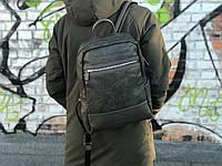Кожаный рюкзак David Jones (натуральная кожа) серого цвета