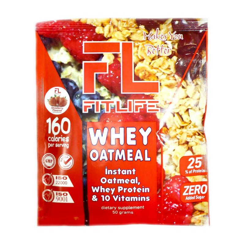 Овсяная каша с протеином FitLife Whey Oatmeal (50 г) фитлайф strawberry