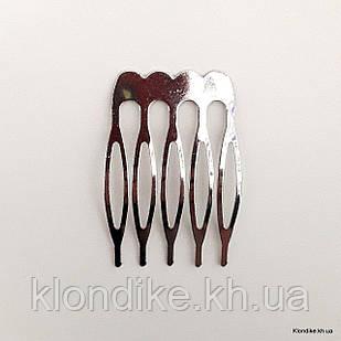 Гребень для волос, 4×2.5 см, Цвет: Платина
