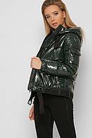 Женская лаковая демисезонная короткая куртка