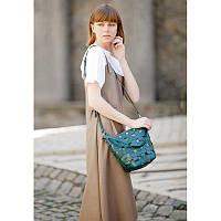 Кожаная плетеная женская сумка Пазл M зеленая Krast, фото 1