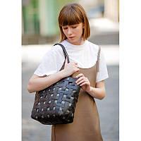 Кожаная плетеная женская сумка Пазл L черная Krast, фото 1