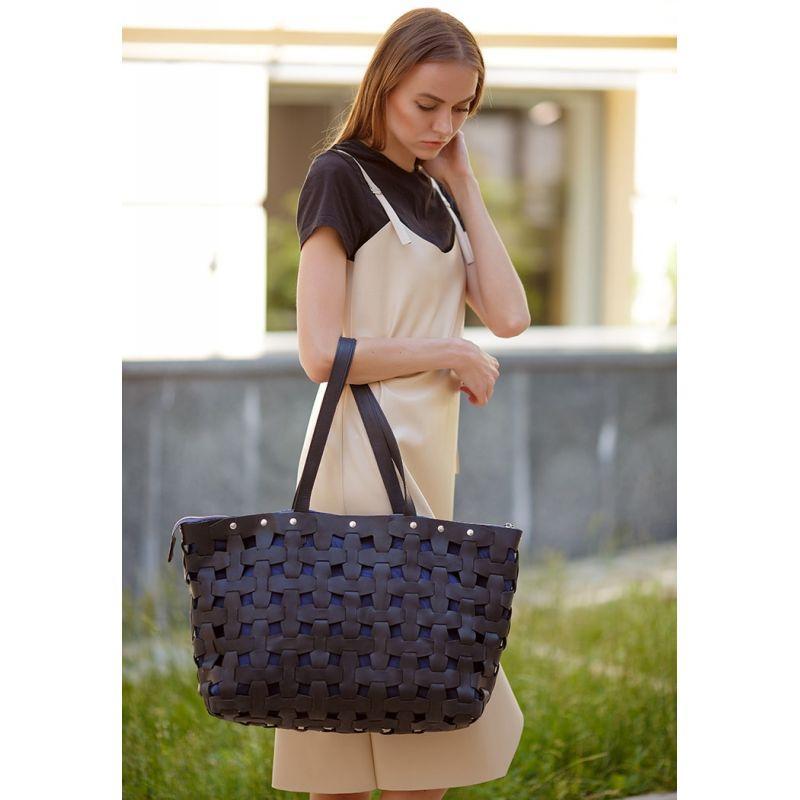 Кожаная плетеная женская сумка Пазл Xl черная Crazy Horse