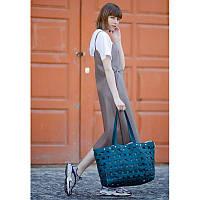 Кожаная плетеная женская сумка Пазл Xl зеленая Krast, фото 1