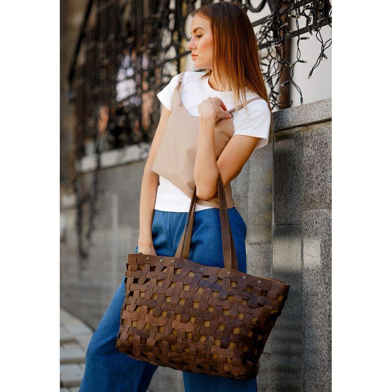 Кожаная плетеная женская сумка Пазл Xl темно-коричневая Crazy Horse