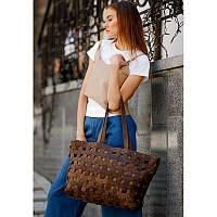 Кожаная плетеная женская сумка Пазл Xl темно-коричневая Crazy Horse, фото 1