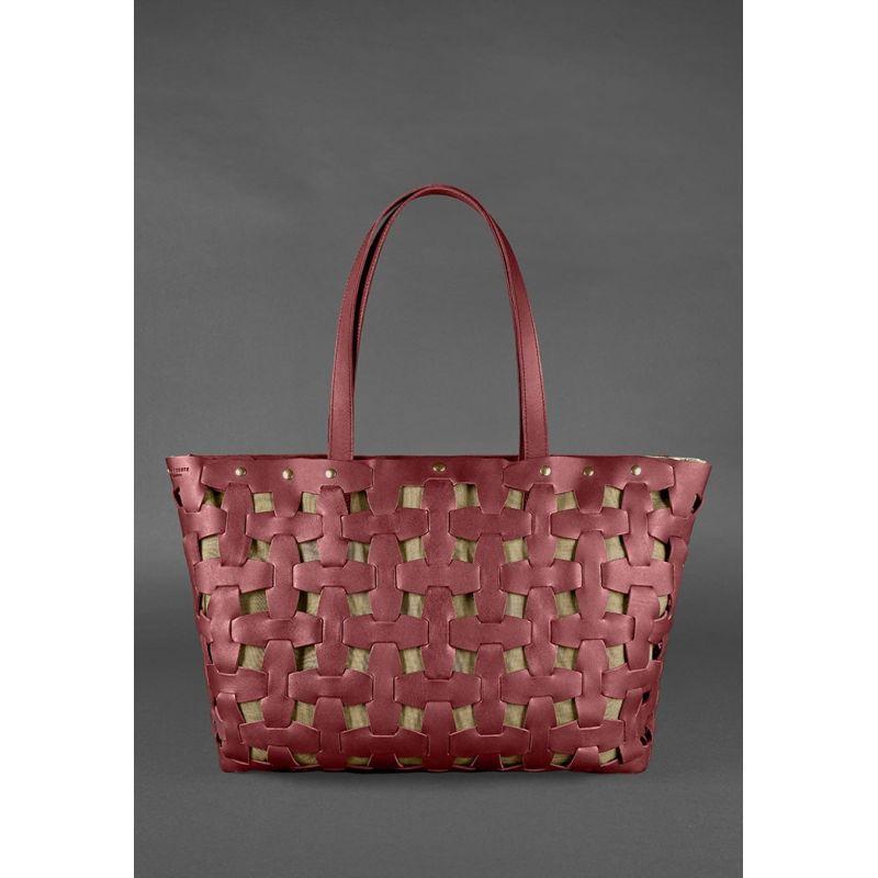 Кожаная плетеная женская сумка Пазл Xl бордовая Krast
