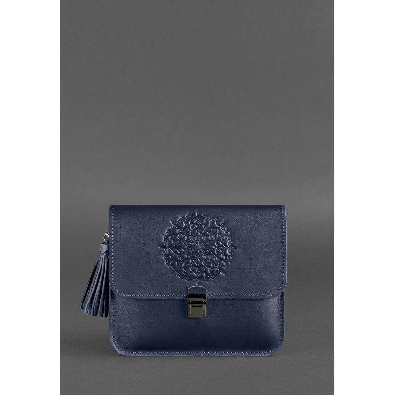 Кожаная женская бохо-сумка Лилу темно-синяя