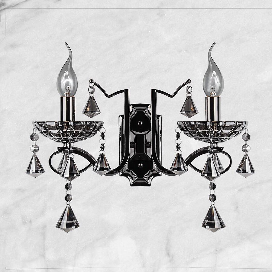 Тёмно-серебряная двойная хрустальная бра