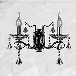 Тёмно-серебряная двойная хрустальная бра, фото 2